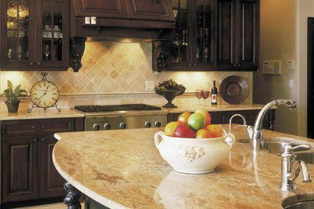Sahara Gold Granite Countertops With A Full Bullnose Edge Profile