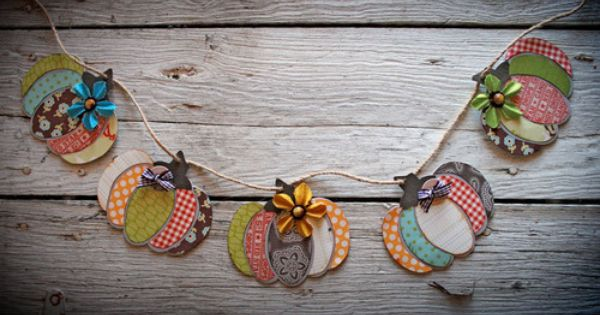 Scrap paper pumpkin garland