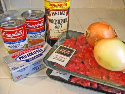 Crockpot Beef Stroganoff Recipe!! Ingredients: 2 lbs cubed stew meat, 2 cans