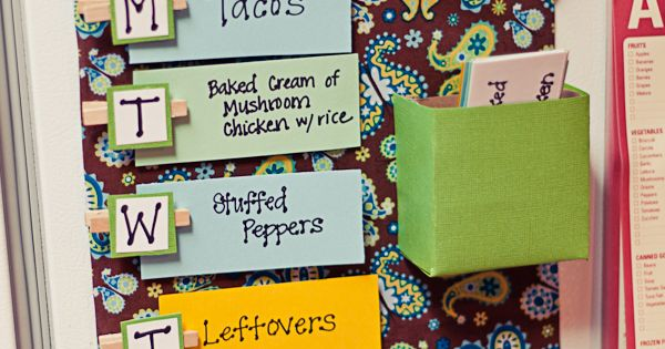 Cute idea for weekly menu planning