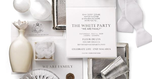 white party everything is white including type okay maybe – P Diddy White Party Invitation