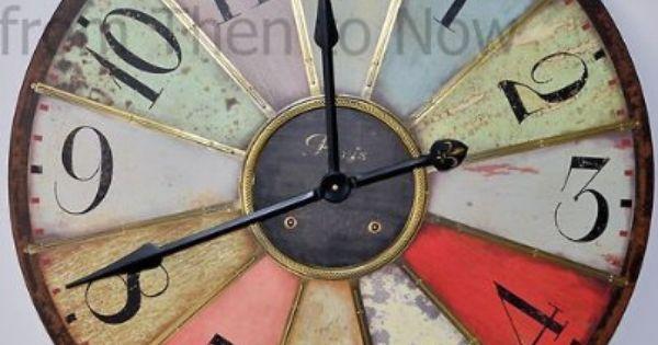 Chic Shabby Large Retro Paris Multicoloured Vintage Style Giant Wall Clock 74cm Amazon Kitchen Home Relojes De Pared Relojes De Pared Grande Reloj