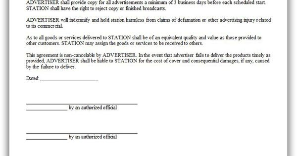 Free Printable Advertiser Agreement  Sample Printable Legal Forms