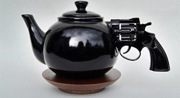 Tea time gets dangerous - revolver tea pot
