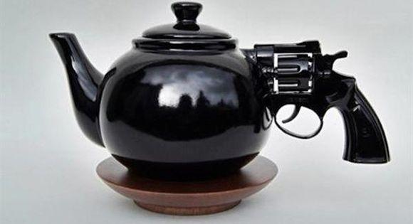 Tea time gets dangerous - revolver tea pot