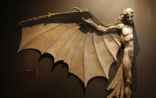 Statue based on LeonardodaVinci 's famous concept for ArtificialWings.