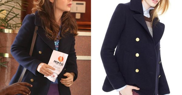 Dress like New Girl | This navy peacoat with its gold buttons has