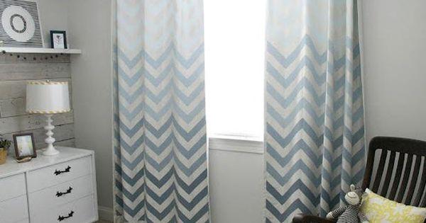 Ombre Chevron Curtains in Boys Nursery
