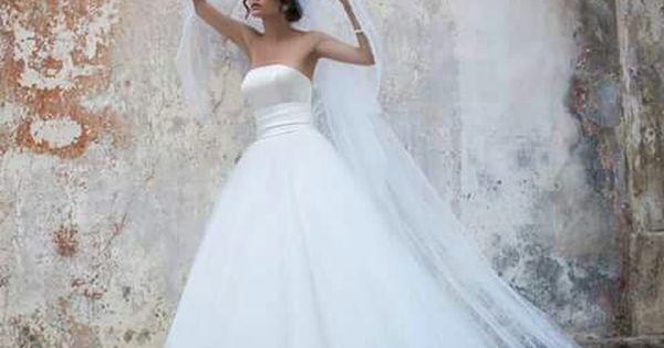 Gorgeous A Line Wedding Dress Satin Top Tulle Bottom With Plain Tulle Veil Wedding Dresses Satin Wedding Dresses Tulle Wedding Dress