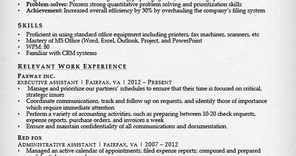 combination resume for an executive assistant resume
