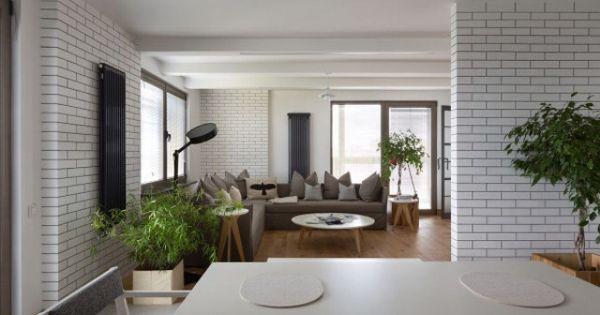 Home Design Cool Contemporary Kiev Apartment With White Brick - badewanne eingemauert modern