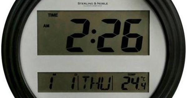 Mainstays Digital Wall Clock Black Wall Clocks Walmart
