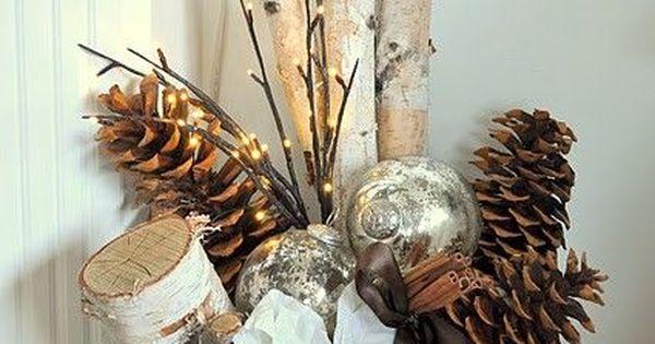 Birch Logs, Pine Cones, White Poinsettia & Bulbs In A