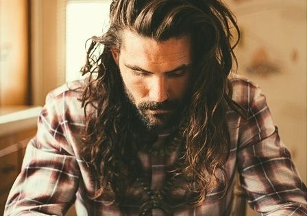 This guy can pull off long hair. Men's fashion, men's style, hipster boho