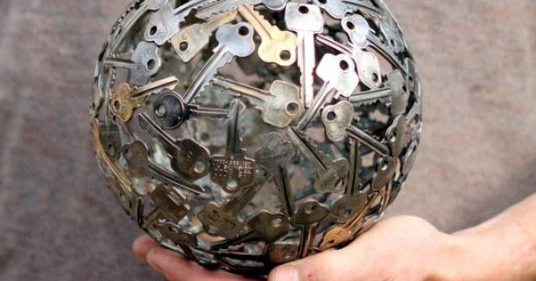 Medium key ball Key sphere Metal sculpture ornament by Moerkey, $200.00 Surely