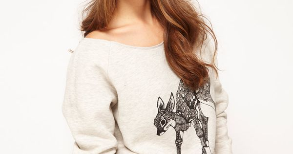 Brat & Suzie Off Shoulder Skating Deer Sweatshirt