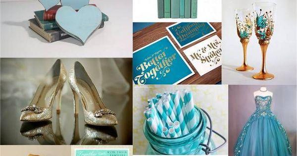 Teal turquoise gold wedding theme inspiration future for Turquoise gold wedding theme