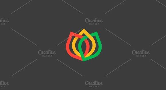 Color flower logo icon design. Elegant crown line symbol vector logotype