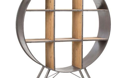 Linea Furniture Black Felka Round Shelf Unit With Images Kave Home Industrial Living Room Design Shelves