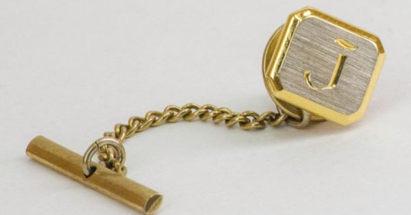 Vintage Tie Pin Letter J Tie Tack Silver and Gold by CuffsandClips, $11.38