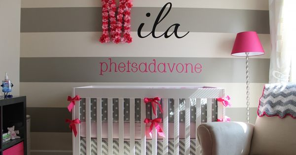 Pink and Gray Nursery, love the flower letter!
