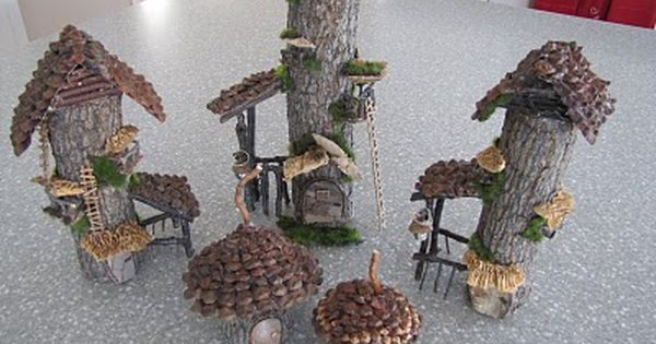 Tiny faerie houses from fat twigs, perfect for the corner of a