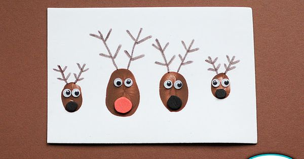 fingerprint reindeer xmas cards. cute idea to get a print from each
