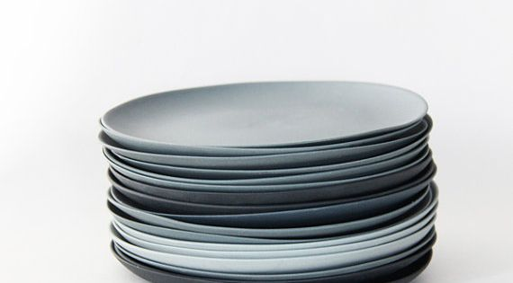 Plates porcelain gray set by GoldenBiscotti on Etsy