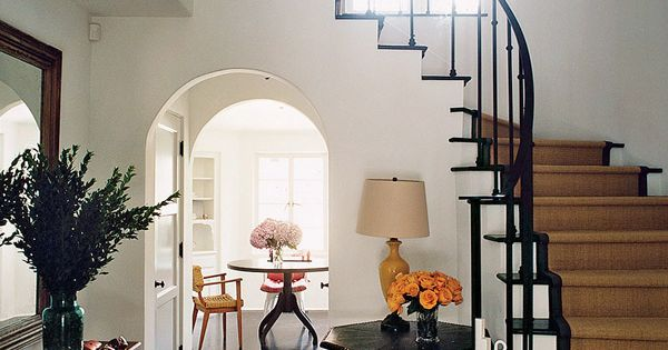 Inspiration for the entryway & staircase, jute stair runner, simple banister and