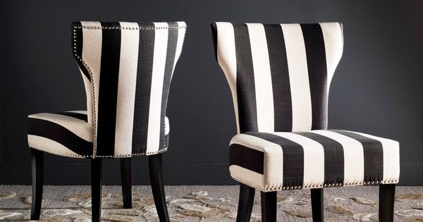 Haver Black And White Striped Dining Chairs Set Of 2 22 8 X