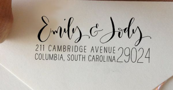 Custom Calligraphy Return Address Stamp Mixed By
