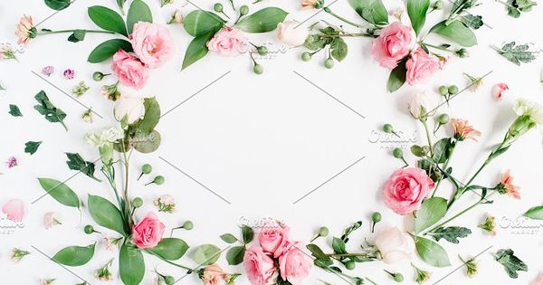 Round frame made of pink and beige roses, green leaves, branches, floral pattern