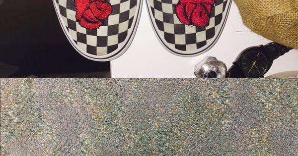 Custom Rose Embroidered Checkered Vans Custom Rose b1c19e49b