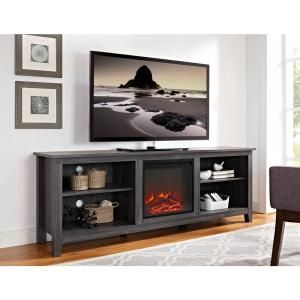 Walker Edison Furniture Company 70 In Wood Media Tv Stand Console With Fireplace Charcoal Hd70fp18cl The Home Depot Saracina Home Tv Stand Furniture Fireplace Tv Stand
