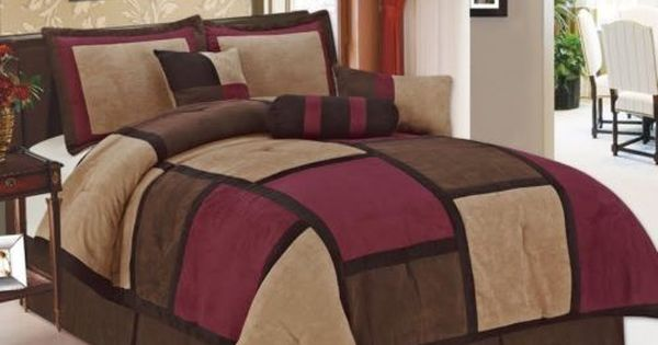 7 Pc Burgundy Brown & Black Suede Patchwork King Size