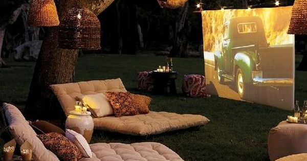 Backyard movie theater for summer movie nights