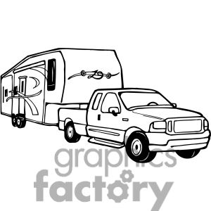 Truck And Rv Camper Trailer Clipart Commercial Use Clipart 387709 Camping Clipart Camper Drawing Fifth Wheel Campers