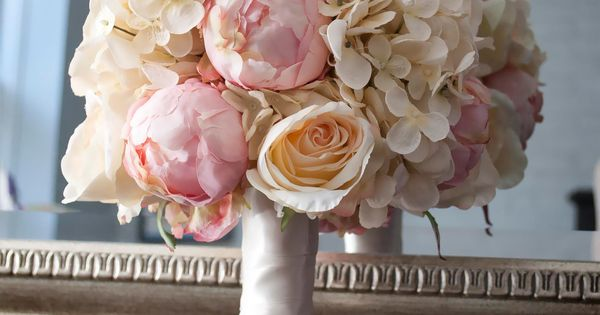 Shabby Chic Wedding Bouquet - Peony Rose and Hydrangea Ivory and Blush