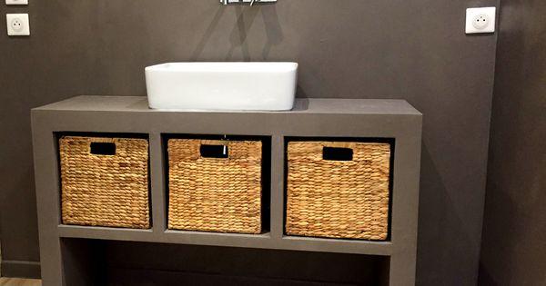 R alisation concrete design meuble de salle de bain en - Meuble salle de bain beton cire ...
