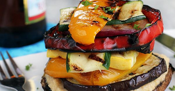 Grilled Vegetable Stack with Homemade Lemon Hummus | Gluten Free & Vegan