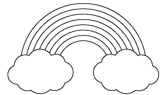 Rainbow With Clouds Pattern. Use The Printable Outline For