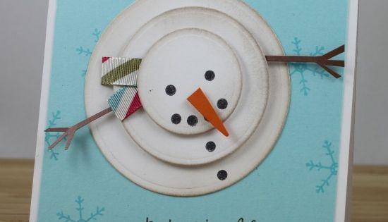 Love snowmen, 3 different size circles, ink the edges and cardstock for