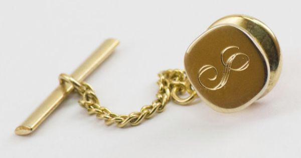 Vintage Tie Pin Cursive Letter L Tie Tack Gold by CuffsandClips, $12.20