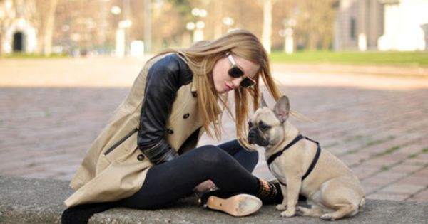 Love The Trench With Leather Sleeves And The Poocher Milestostyle 120 French Bulldog Sweatshirt Chiara Ferragni Style