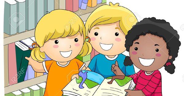 Niños Estudiando Caricatura Imágenes De Archivo