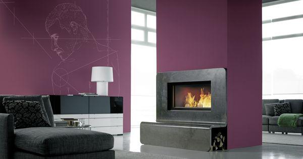 Chemin e avec insert bois fondis et habillage en granit - Modele cheminee avec insert ...