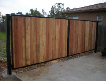 Steel Frame With Redwood Fence Boards Fence Gate Design Wood Gate Wood Fence