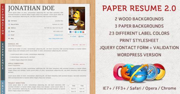 Paper Resume \/ CV Resume cv - paper for resume