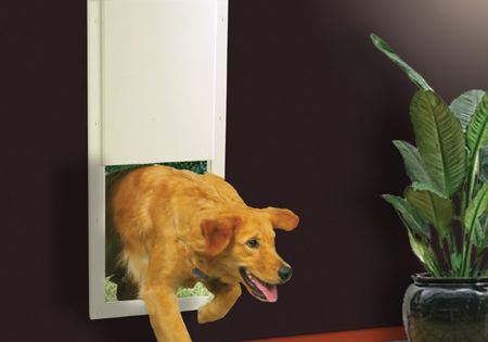 This Doggie Door Only Opens When It Senses Your Pet Approaching Via A Special Collar Burglar And Stray Animal Proof Pet Door Automatic Dog Door