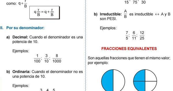 Fracciones Equivalentes Simplificacion De Una Fraccion Matematicas Fracciones Fracciones Escritura Creativa Para Ninos